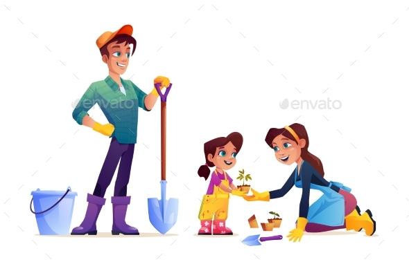 Family Gardening Together Cartoon People in Garden