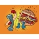 Dumbbell Boxing Against Burger - GraphicRiver Item for Sale