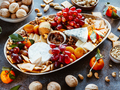 Big cheese board with appetizer assortment. Grape, cheese, nuts, jam and bread. - PhotoDune Item for Sale