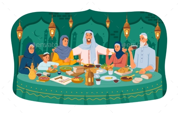 Arabian Family Sitting at Table Celebrate Holiday