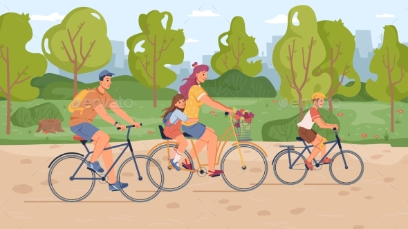 Parents and Children Riding on Bicycles in Park