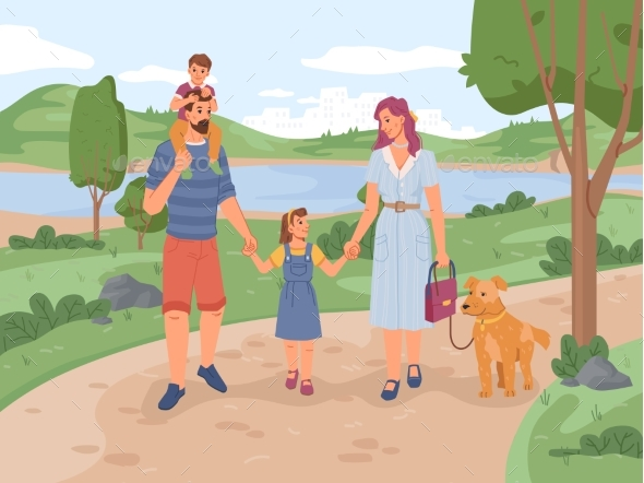 Parents and Children Walking in Park with Dog Pet
