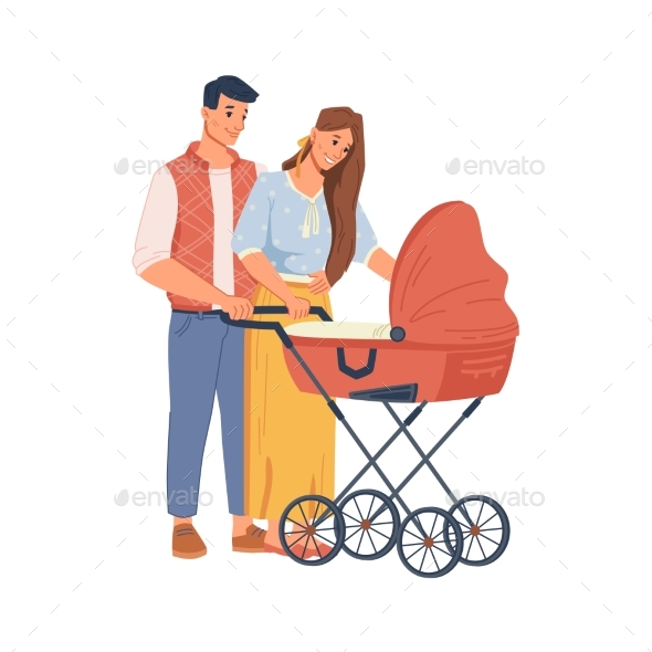 Happy Parents Walking Newborn Baby with Stroller