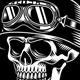 Vintage Biker Skull With Crossed Pistons Vector  Illustration - GraphicRiver Item for Sale