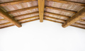 Tuscan traditional wood beam ceiling, red bricks and white wall. Italy - PhotoDune Item for Sale