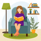The Girl Sits in a Chair and Reads a Book - GraphicRiver Item for Sale