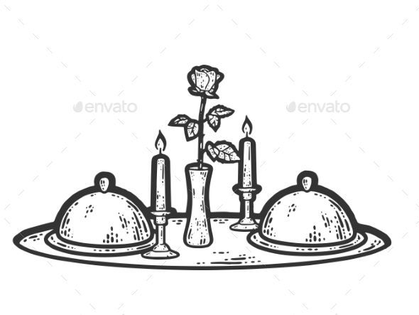 Food Tray Candle and Rose in a Vase