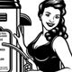 Vintage Pin Up Girl Gas Station Vector Illustration - GraphicRiver Item for Sale