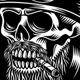 Vintage Bearded Biker Skull Smoking Cigar Vector Illustration - GraphicRiver Item for Sale