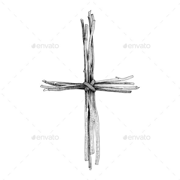 Hand Drawn Christian Cross Religious Sign