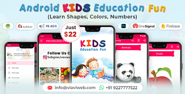 Android Kids Education Fun App (Learn Shapes, Colors, Numbers)