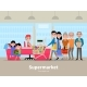 Vector Cartoon People Doing Shopping Supermarket - GraphicRiver Item for Sale