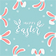 Blue Easter Background with Bunny Ears and Flowers - GraphicRiver Item for Sale