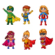 Set of Six Cartoon Superhero kids Characters - GraphicRiver Item for Sale