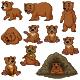 Set of Ten Cute Cartoon Bear Animals - GraphicRiver Item for Sale