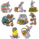 Set of Cartoon Easter Bunnies|Chicks hatching an Easter Egg - GraphicRiver Item for Sale