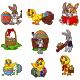 Set of Cartoon Easter Bunnies with Chicks - GraphicRiver Item for Sale