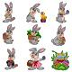 Set of Nine Easter Bunny | Easter Eggs Clip art - GraphicRiver Item for Sale