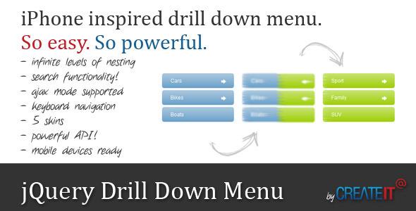 jQuery Drilldown Menu