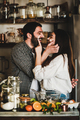 Young happy couple with flour on faces baking citrus cake - PhotoDune Item for Sale