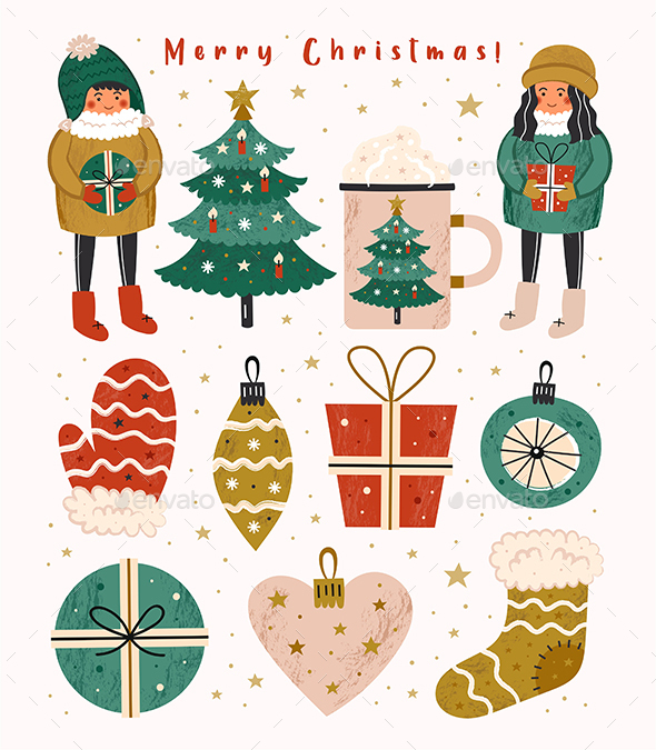 Merry Christmas Clip Art Set of Elements Greeting Season