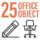 25 Office Object Outline Icon Set - GraphicRiver Item for Sale