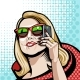 Comic Illustration in Red with a Phone - GraphicRiver Item for Sale