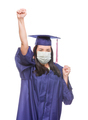 Graduating Female Wearing Medical Face Mask and Cap and Gown  Cheering Isolated - PhotoDune Item for Sale