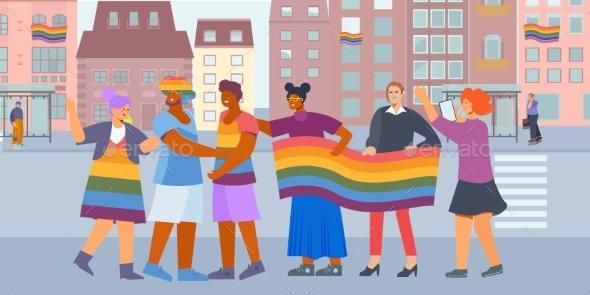 Discrimination LGBT Flat Composition