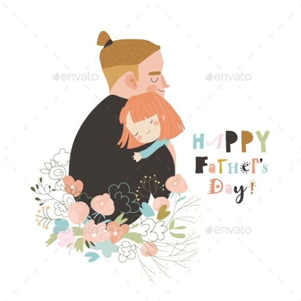 Cartoon Father Hugging His Daughter in Flowers