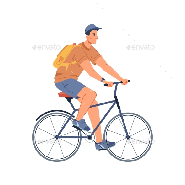 Riding on Sport Bicycle Isolated Cycling