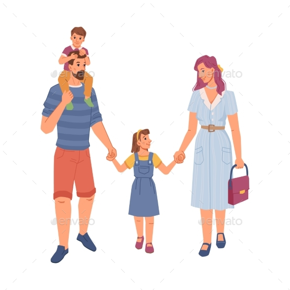 Happy Family Children Flat Cartoon