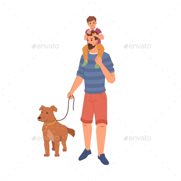 Pet Owner Walking with Dog