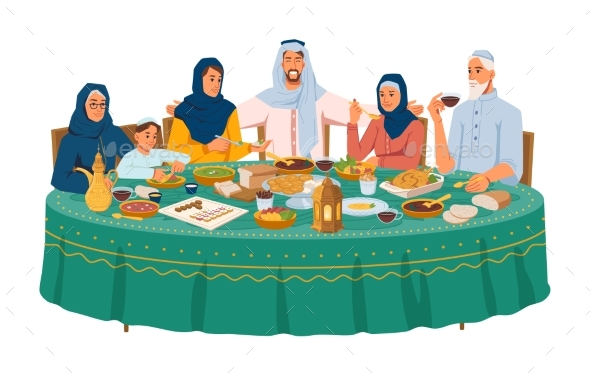 Muslim Family at Dinner Iftar or Ramadan Holiday