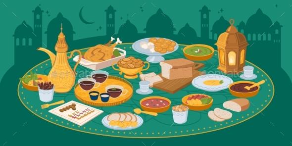 Iftar Ramadan Banner with Food and Drinks Eating