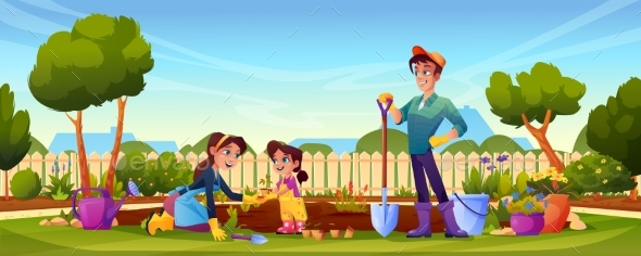 Family Gardening in Backyard Parents and Kid