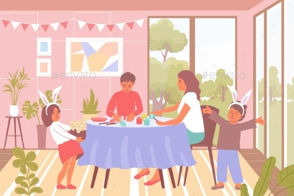 Easter Celebration Flat Background