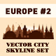 City skyline set. 10 city silhouettes of Europe. Vol. 2 - GraphicRiver Item for Sale