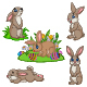 Set of Five Easter Bunny Collection - GraphicRiver Item for Sale