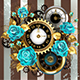 Striped Background with Clock and Turquoise Roses - GraphicRiver Item for Sale