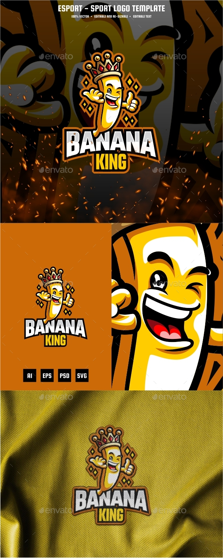 Banana King E-sport and Sport Logo Template