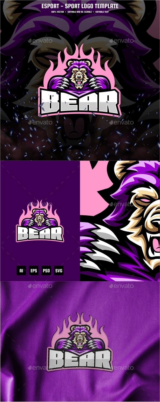 Bear E-sport and Sport Logo Template