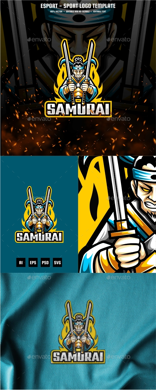 Samurai Master E-sport and Sport Logo Template