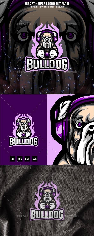 Bulldog E-sport and Sport Logo Template