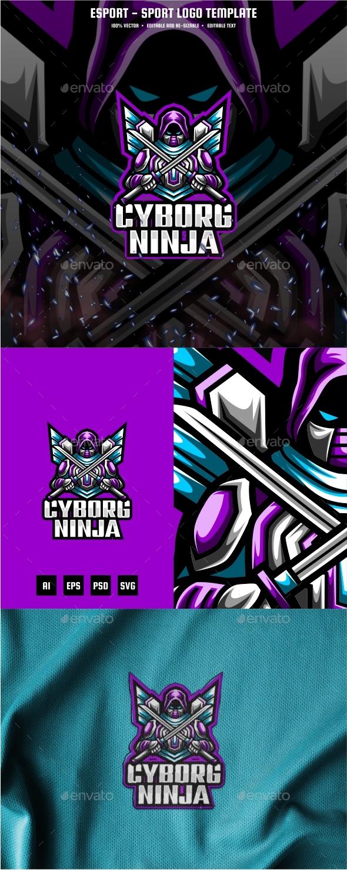 Ninja Cyborg E-sport and Sport Logo Template