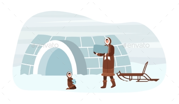 Eskimo Family of Boy Father are Building Ingloo