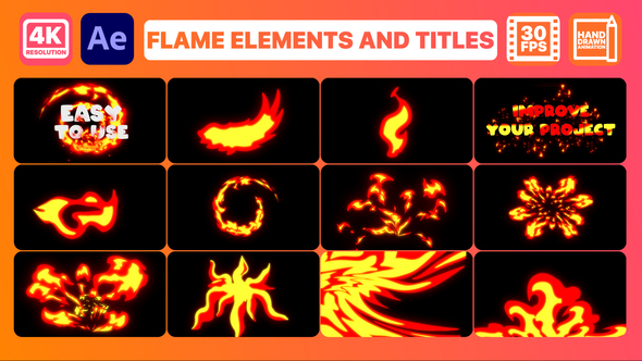 Flame Elements And Titles | After Effects