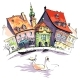 Vector Sketch of Little Venice in Bamberg - GraphicRiver Item for Sale