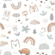 Seamless Pattern with Cute Animals Faces and - GraphicRiver Item for Sale