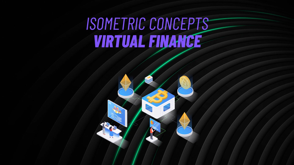 Virtual Finance - Isometric Concept
